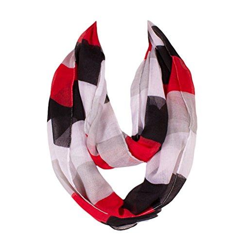Kingree Fashion Pattern Premium Soft Loop Infinity Scarf Strip Series, Black/Grey/Red/White