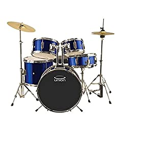 Union DBJ5052(DB) 5-Piece Junior Drum Set with Hardware, Cymbal and Throne - Dark Blue 9
