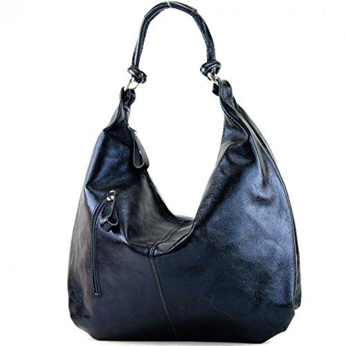 Italian bag women's bag handbag hobo bag leather bag 337 Dunkelblau-metallic