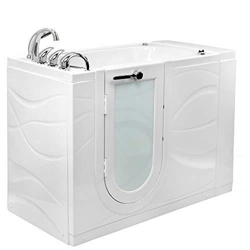 Walks Hydro (Ella Zen Acrylic Hydro Massage and Microbubble Walk-In Bathtub with Left Outward Swing Door, Fast Fill Faucet, 2