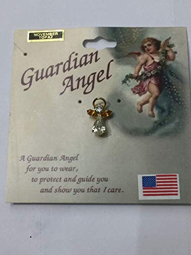 Guardian Angel Birthstone Pin November Topaz Austrian