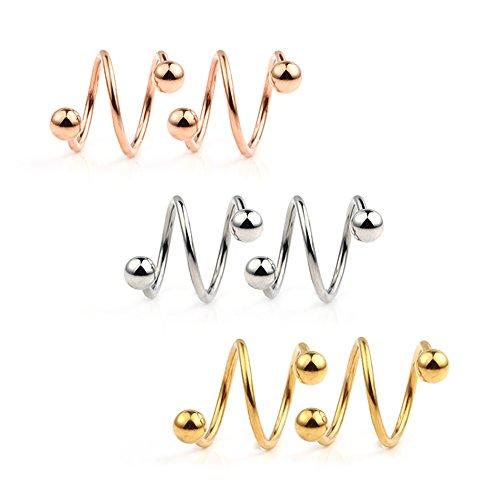 Twist Earrings - Ruifan 16G Stainless Steel Double Twist Ear Plug Earring Spiral Helix Stud Lip Ring Body Piercing Jewelry 8mm 3Pairs