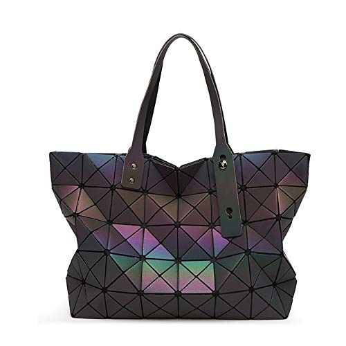 4 Luminous sac bao Bag Diamond Tote Geometric Quilted Shoulder Bags Laser Plain Folding Handbags bolso