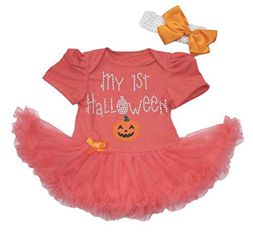 My 1st Halloween Dress Pumpkin Face Tangerine Bodysuit Tutu Baby Clothing Nb-18m (6-12month) -