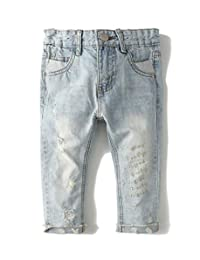 Kidscool Grils Ripped Holes Stone Washed Soft Slim Jeans