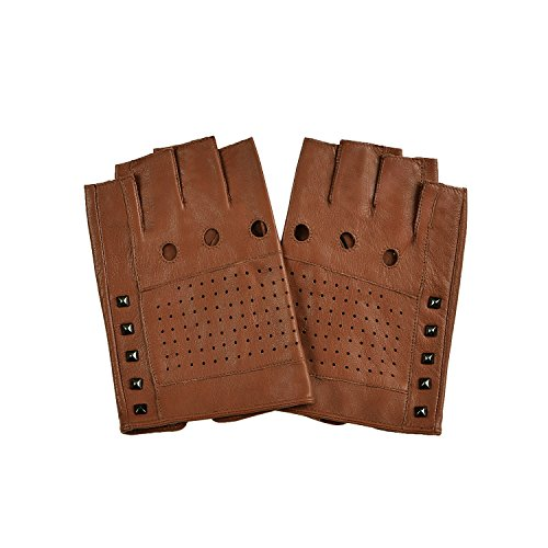 GSG Punk Studs Driving Cycling Leather Gloves Motorcycle Fingerless Gloves Mens Half Finger Hip Hop Gloves Lt Brown 10