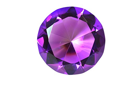 100 mm Amethyst Purple Diamond Shaped Crystal Jewel Paperweight by Tripact - 04