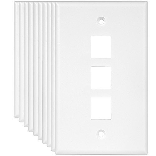 Enerlites 8873-W (10 Pack) 3 Port Keystone Jack Wall Plate, Keystone Wall Plate, Data Wall Plate, Voice/Audio Wall Plate, Compatible with any standard-size Keystone Insert such as Cat6, RJ45, RJ11 by Enerlites