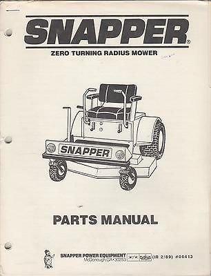 1989 SNAPPER ZERO TURNING RADIUS MOWER PARTS MANUAL P/N 06413 (370)