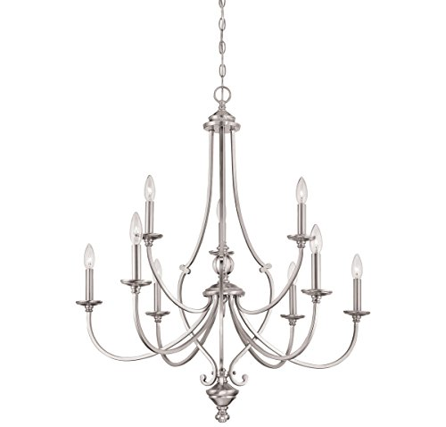 Ceiling Chandelier Savannah (Minka Lavery Minka 3339-84 Contemporary Modern Nine Light Chandelier from Savannah Row Collection in Pwt, Nckl, B/S, Slvr.Finish, 33.50 Inches B/S 33.50 Inchesnine)