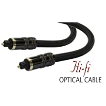 High Performance Braided Toslink Optical Digital Audio Cable with Metal Grips (35ft, NEW PRODUCT)