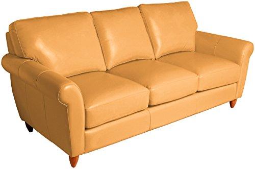 Omnia Leather Cameo 3 Cushion Sofa in Leather, Espresso Legs, Navajo Palom
