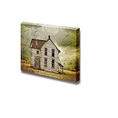 Canvas Prints Wall Art - Illustration of Weathered Abandoned Building in Remote Rural Area. - 12