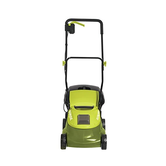 """Sun Joe MJ401C, 14 inches, Green 4 POWERFUL: Perfect for small to medium lawns, battery-powered mower's durable steel blade cuts a crisp 14"""" wide path with precision in a single pass PERFORMANCE: The 28 V 4 Ah rechargeable lithium-ion battery for up to a quarter acre of continuous mowing per charge ADJUSTABLE DECK: Tailor cutting height with 3-position manual height adjustment"""