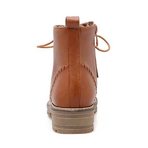Zipper Round Toe Boots Brown Heels Closed Women's Solid top Low WeiPoot Low xOw6gf