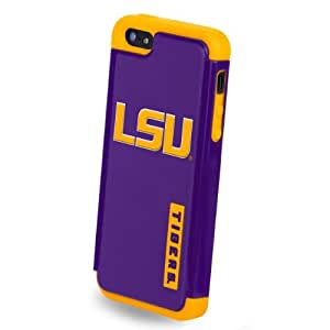 Forever Collectibles NCAA Dual Hybrid TPU iPhone 5/5S Rugged Case - Retail Packaging - LSU Tigers