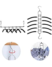 2 Pack 5 in 1 Clothing Hangers with Anti-Slip Foam Padded, Multi Layers Space Saving Hangers Closet Organizer for Coat,Suits,Shirt,Sweaters,Metal Clothes Hanger,Hanger Organizer
