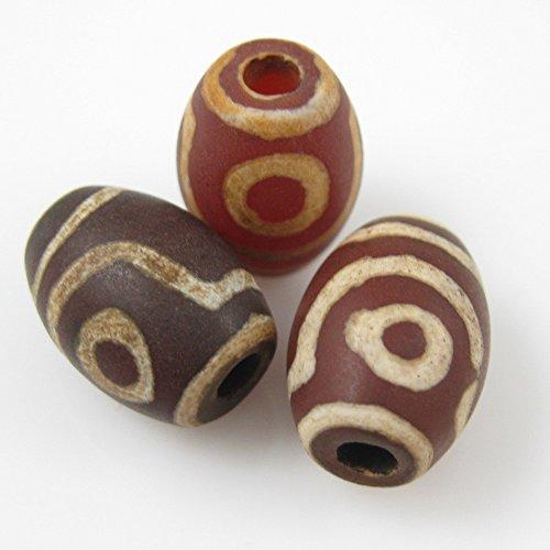 Carnelian Oval Beads - Carnelian dZi Bead - Oval Shape with 2-Eyes Totem -- 14mm by 10mm (6 pcs)