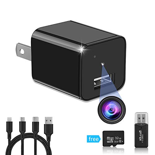Hidden Camera,Spy Camera,USB Charger Camera, HD 1080p Mini Spy Camera, Surveillance Camera, spy Camera Charger with 32 gb sd Card +3 in 1 Cable