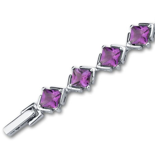 8.00 Carats Amethyst Bracelet Sterling Silver Princess Cut