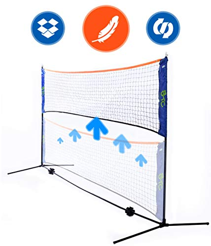 - Street Tennis Club Portable Badminton Net Stand - Light and Fast Set Up - Perfect for Kids Volleyball, Tennis, Pickleball, Soccer Tennis - for Indoor or Outdoor Court, Beach, Driveway