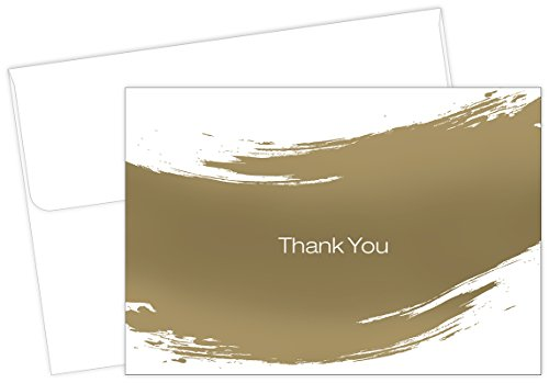 Gold Brush Thank Note Cards product image