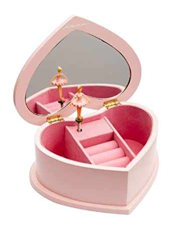 Pink Ballerina Wooden Music Heart Shaped Jewellery Box Christmas