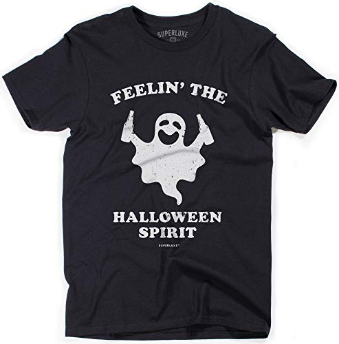 Superluxe Clothing Mens Feelin The Halloween Spirit Funny No Costume Drunk Ghost T-Shirt, Black, Large