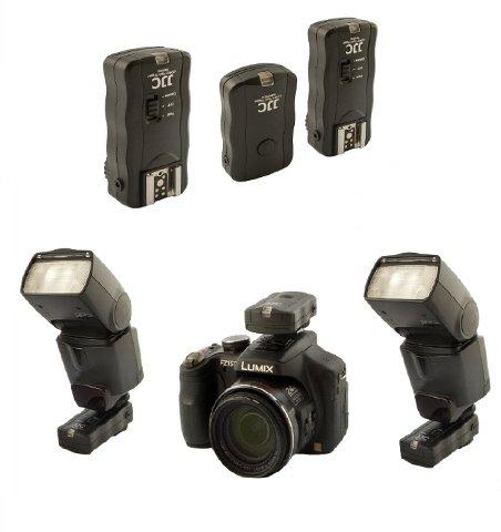 Neu: JJC Profi Funk Fernauslösesystem für Kamera und Blitzgerät - inkl. Adapter für Studioblitzanlagen für Panasonic DMC-GF-1, GH1, GX-1, G2, GH2, GH2H, GH2K, G3, GH3, GH4, G5, G6, GX-7, FZ25, FZ30, FZ50, FZ100, FZ150, FZ200, FZ1000, LC-1, L10, Leica Digilux 2, Digilux 3 u.v.a