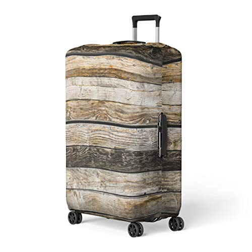 Pinbeam Luggage Cover Abstract Old Natural Brown Barn Wood Wall Wooden Travel Suitcase Cover Protector Baggage Case Fits 18-22 inches ()