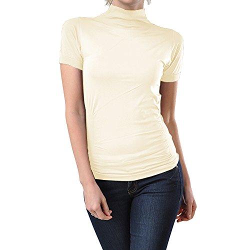 Ekimo T-USA Stretch Short Sleeve Mock Neck Turtleneck Blouse Top Shirt (Ivory) (Ivory Turtleneck Shirt)