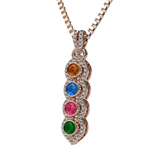 NANA Silver Halo Tower Mother's Pendant 3 to 6 Stones Rose Gold Flashed with a 0.8mm 22