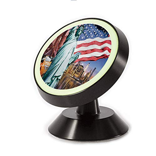 Magnetic Dashboard Cell Phone Car Mount Holder,Concept Collection Statue of Liberty NYC Cityscape,can be Adjusted 360 Degrees to Rotate,Phone Holder Compatible All ()
