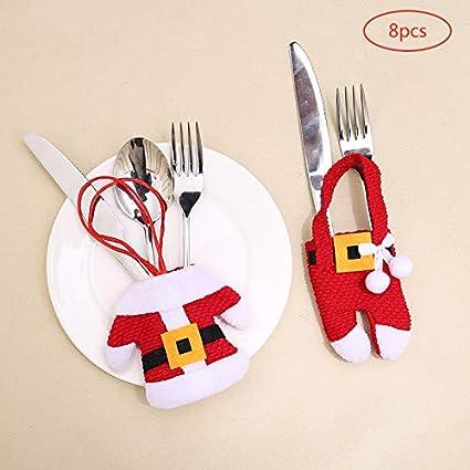8 Piezas Bolsa Cubiertos Navidad Linda (Cuchillo Tenedor Cuchara) Forma de Traje de Papá