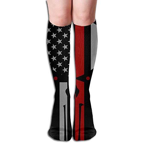 Socks Pink Knee Skull - DEFFWBb USA Flag Skull Women's Fashion Knee High Socks Casual Socks 50cm