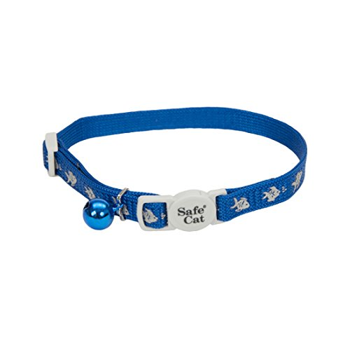 Coastal Pet Products CCP6741FBU Safe Cat Reflective Nylon Adjustable Breakaway Collar with Bells, Fish Blue