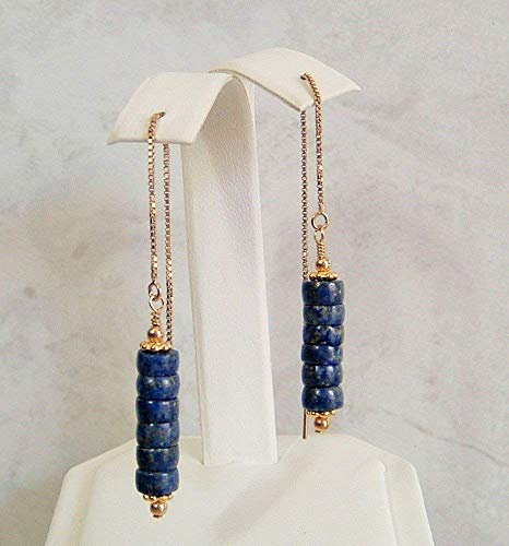 Blue Heishi Simulated Lapis Lazuli Gold Filled Ear Thread Earrings Her Special Day Gift Idea ()