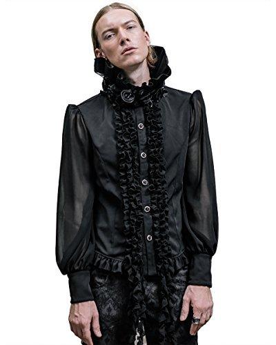 5d6585c94bef Devil Fashion Uomo Vampiro Gotico Camicia Maglietta Nero Steampunk VTG  Vittoriano Rosa Amazon.it Abbigliamento ...