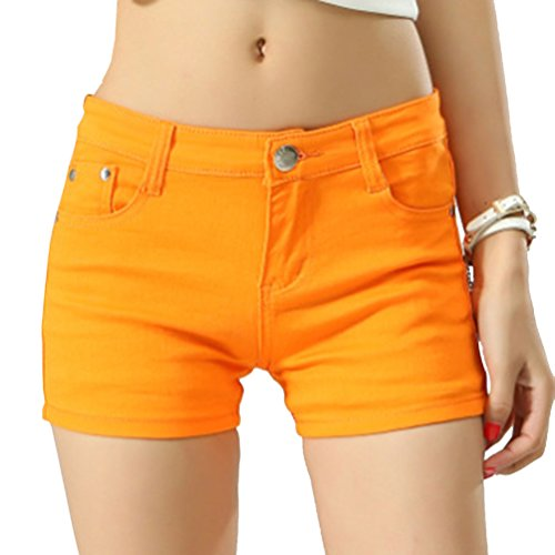 Cayuan Womens Jeans Shorts Slim Denim Short Trousers Boyfriend Hotpants with Pockets Summer Orange