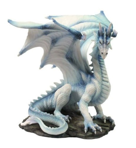 wu Rare White Dragon Upon Rock Statue Sculpture Figurine