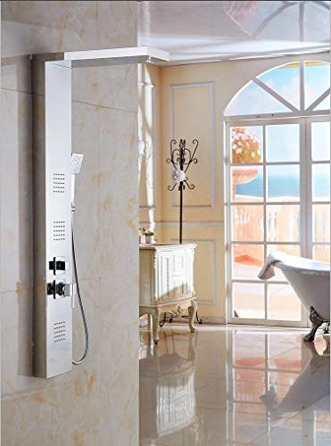 Promotion Price For XZST SUS 304 Stainless Steel Super Large Rainfall Shower Panel Rain Massage System With Jets & Superior Hand Shower, Chrome Finish