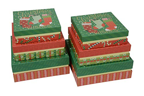 Christmas Nested Gift Boxes Red and Green Square Box with Metallic Gold Foil Hotstamp & Lids for Xmas Gift Giving, Party Favors and Holiday Decor (Set of 6)