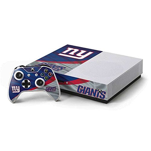 (Skinit NFL New York Giants Xbox One S Console and Controller Bundle Skin - New York Giants Design - Ultra Thin, Lightweight Vinyl Decal Protection)