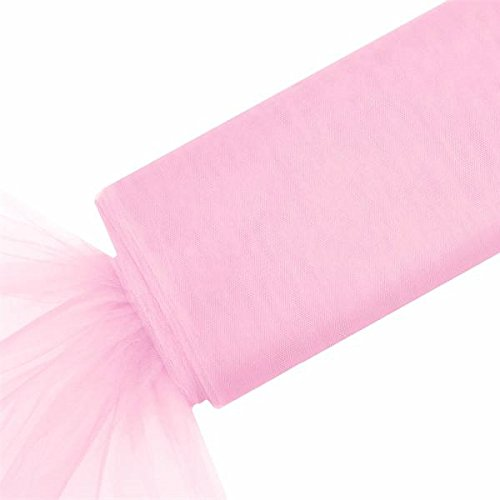 BalsaCircle 54-Inch x 120 feet Pink Large Net Tulle Fabric by The Bolt - Wedding Party Decorations Sewing DIY Crafts Costumes
