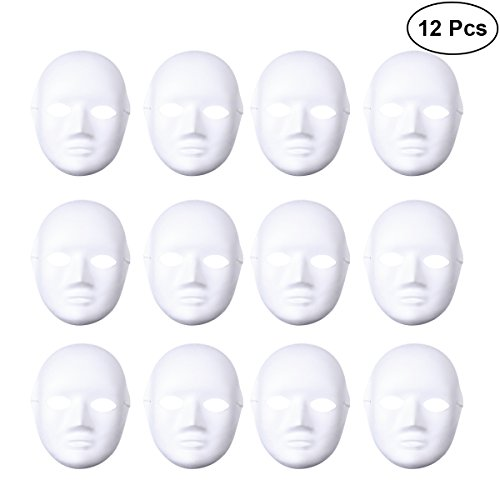 BESTOYARD 12pcs Halloween Mask Female Full Face Mask White DIY Mask Dance Cosplay Masquerade Party -