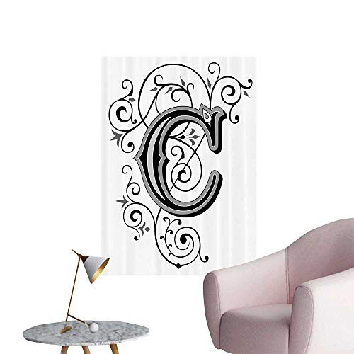 - SeptSonne Wall Decoration Wall Stickers Vic rian spired Gothic Style Capital C Tage Fem e Floral Print Artwork,12
