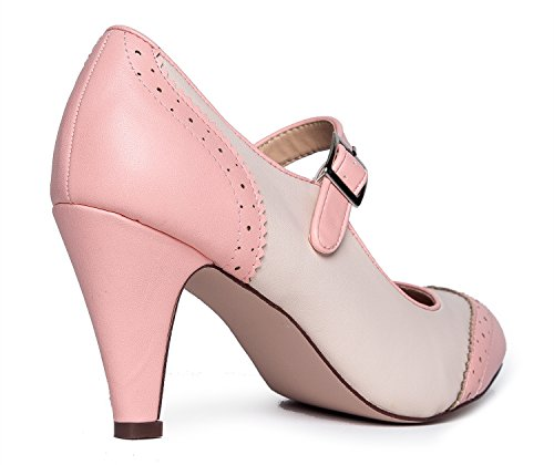 Kym Mary Pumps Jane Heels by Ankle Oxford Pink Low Toe Cute Cream Round Retro with Kitten Pu J Shoe Adams Strap 1qawpp
