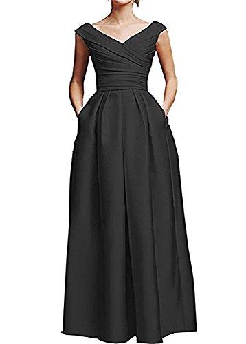 en de con de vestido madre del largo de V cuello noche volantes de vestido con novia la FOLOBE formal Negro satén xFwSq
