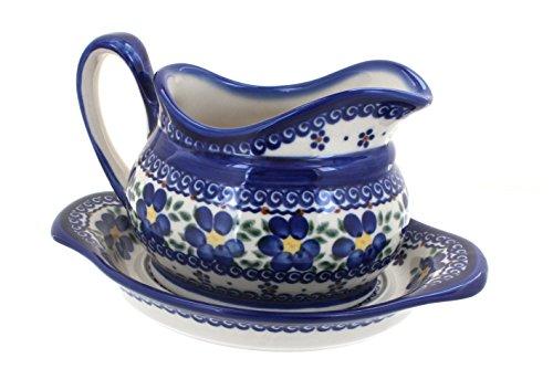 Boat Gravy Blossom (Polish Pottery Spring Blossom Gravy Boat & Plate)