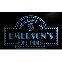 ph760-b Emerson's Home Theater Popcorn Bar Beer Neon Light Sign
